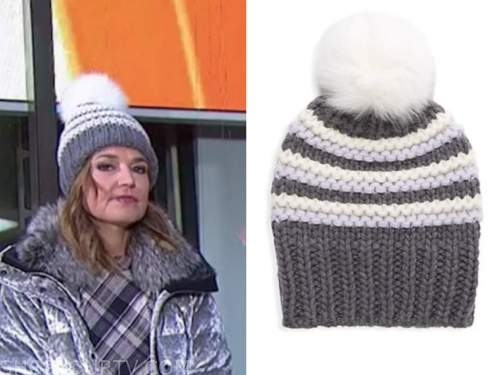 savannah guthrie, the today show, striped knit beanie pom hat