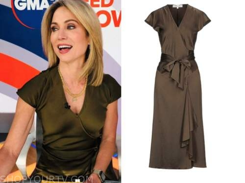 amy robach, olive green silk wrap dress, good morning america, gma3