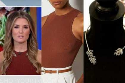 jillian mele, fox and friends, rust brown ribbed knit top, collar necklace
