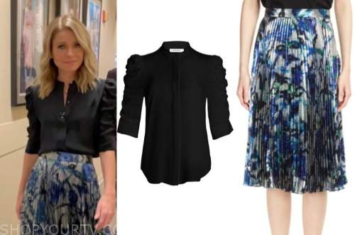 kelly ripa, live with kelly and ryan, black shirt, metallic floral pleated skirt