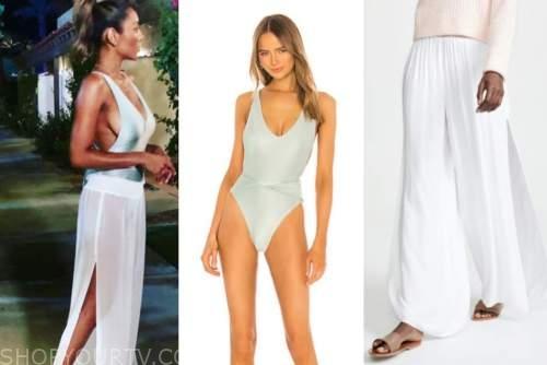 tayshia adams, the bachelorette, mint green swimsuit, white coverup pants
