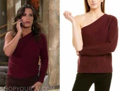 chelsea newman, melissa claire egan, the young and the restless, red one-shoulder sweater