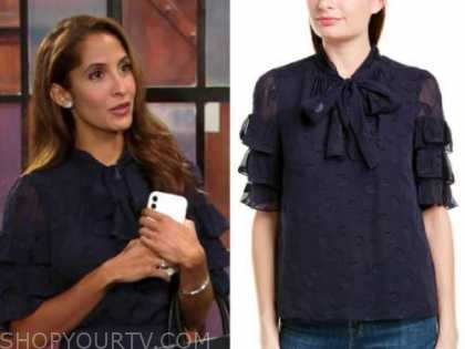 lily winters ashby, christel khalil, the young and the restless, navy blue tie neck ruffle top