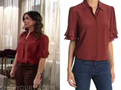 chelsea newman, burgundy red ruffle silk blouse, the young and the restless, melissa claire egan