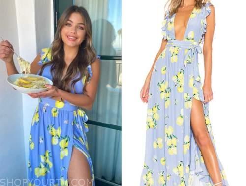 hannah ann sluss, blue and yellow lemon print dress, the bachelor