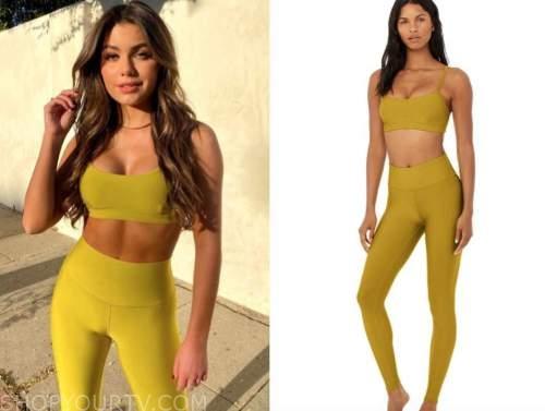hannah ann sluss, the bachelor, yellow sports bra and leggings
