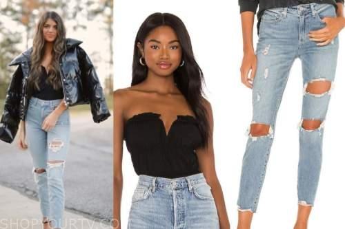 the bachelor, madison prewett, black bodysuit top, ripped jeans