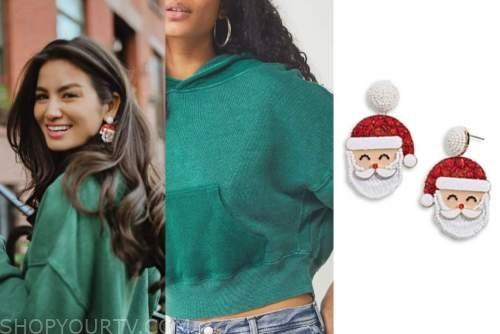 caila quinn, green sweater, santa earrings, the bachelor