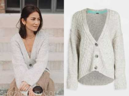 caila quinn, the bachelor, grey cable knit cardigan sweater