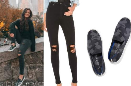 caila quinn, black ripped jeans, camo slip on sneakers
