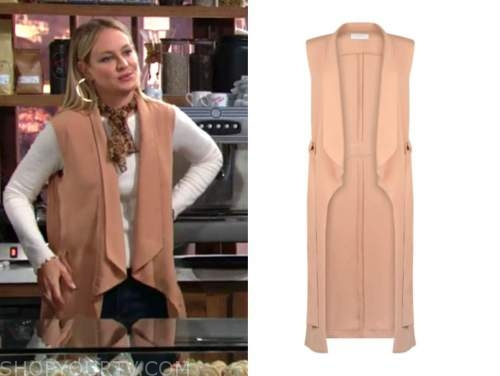 sharon newman, sharon case, the young and the restless, peach drape vest