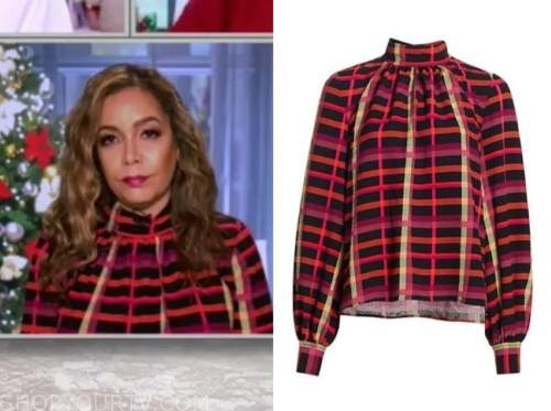 sunny hostin, red check blouse, the view