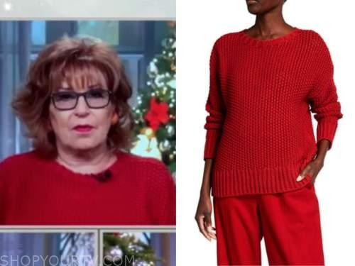 joy behar, red textured sweater, the view