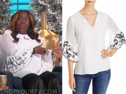 sheryl underwood, the talk, white and black floral tie neck bell sleeve top
