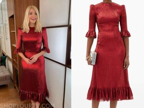 holly willoughby, this morning, red midi dress