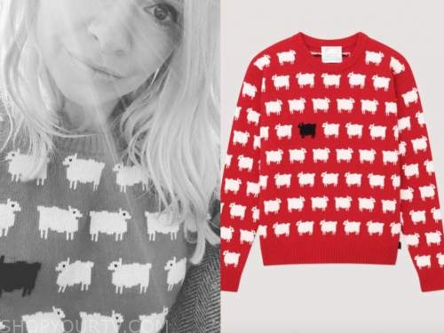 holly willoughby, this morning, red sheep jumper