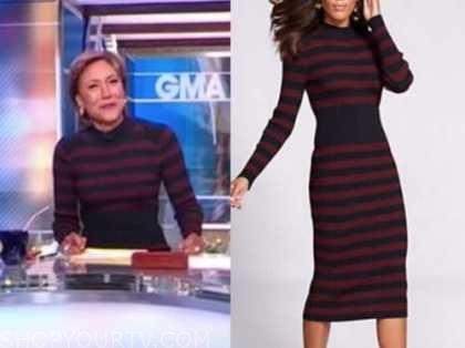 robin roberts, good morning america, red and blue striped knit sweater dress