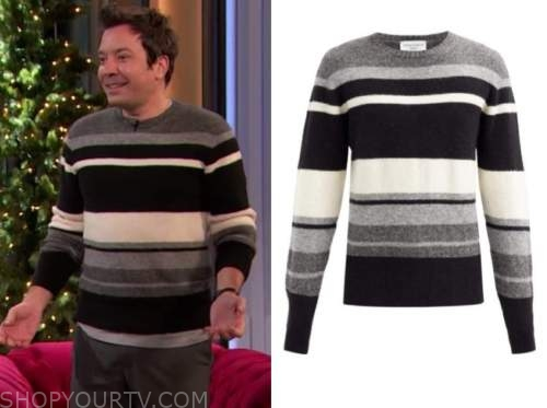 jimmy fallon, drew barrymore show, grey and black striped sweater