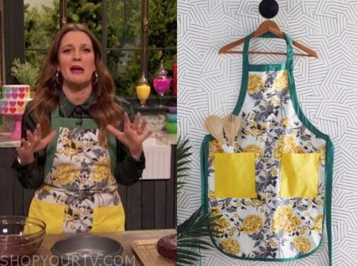 drew barrymore, drew barrymore show, green and yellow floral apron