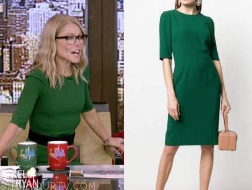 kelly ripa, live with kelly and ryan, green sheath dress