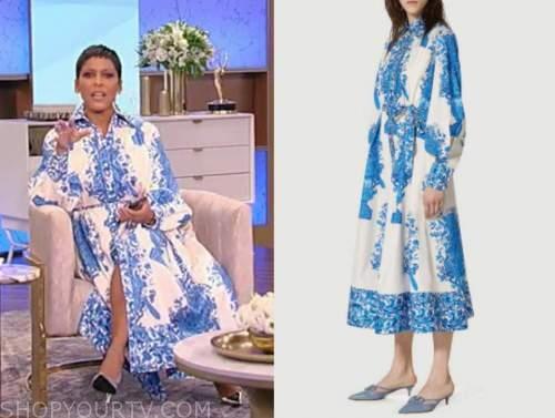 tamron hall, tamron hall show, blue floral shirt dress
