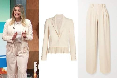 carissa culiner, E! news, daily pop, ivory blazer and pant suit