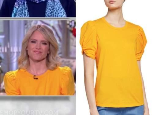sara haines, the view, orange yellow puff sleeve top