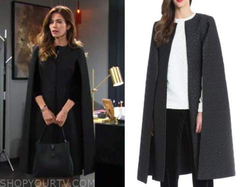 victoria newman, amelia heinle, the young and the restless, black jacquard cape jacket
