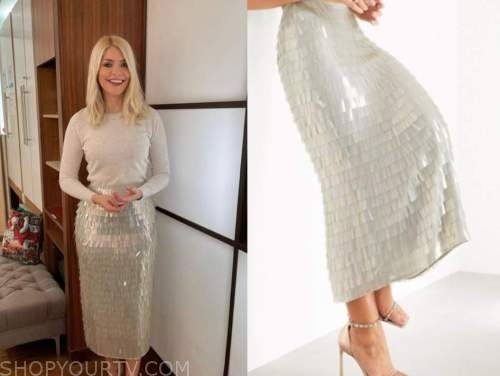 holly willoughby, this morning, embellished sequin fringe midi skirt