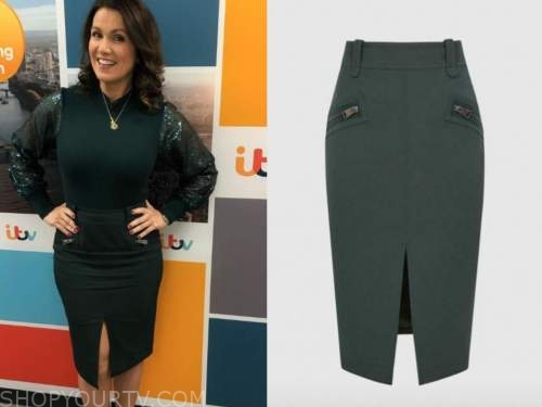 Good Morning Britain December 2020 Susanna Reid S Green Zipper Pencil Skirt Shop Your Tv