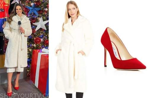 kacie mcdonnell, fox nation, ivory fur coat, red pumps