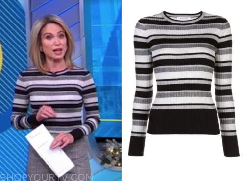 amy robach, black and white striped knit top, good morning america