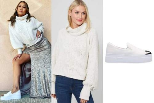 carrie ann inaba, the talk, white turtleneck sweater, slip on sneakers
