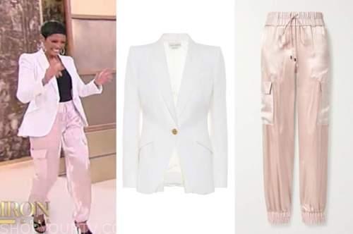 tamron hall, tamron hall show, white blazer, blush pink silk pants