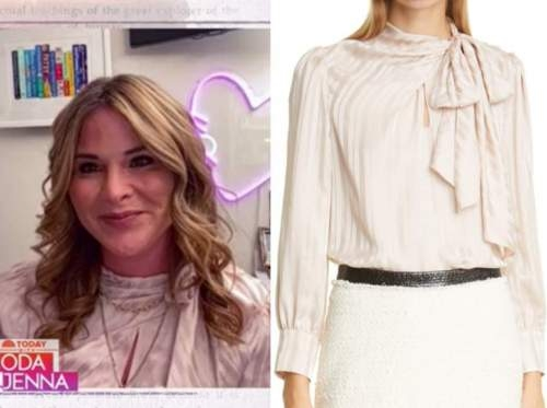 jenna bush hager, the today show, blush pink silk stripe tie neck top