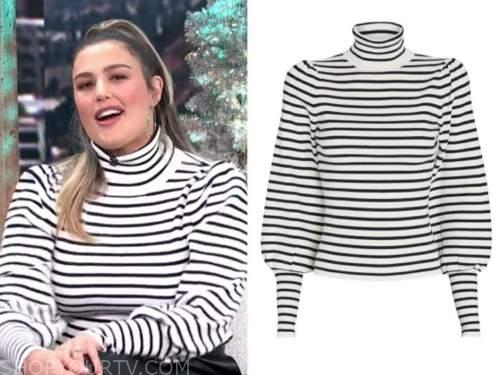 carissa culiner, E! news, daily pop, striped turtleneck sweater