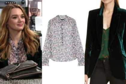 summer newman, hunter king, the young and the restless, floral blouse, green velvet blazer