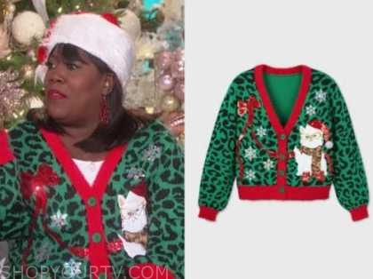 sheryl underwood, the talk, christmas cat cardigan sweater