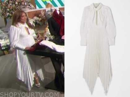 carrie ann inaba, white pleated dress, the talk