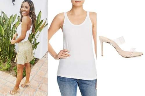 tayshia adams, the bachelorette, white racerback tank top, clear sandals, gold skirt