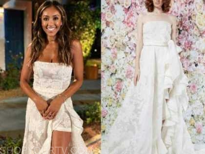 tayshia adams, the bachelorette, white lace strapless gown