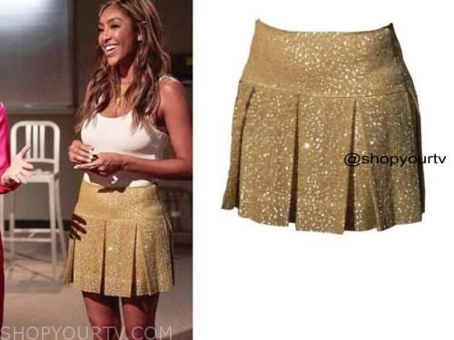 tayshia adams, the bachelorette, gold metallic pleated skirt