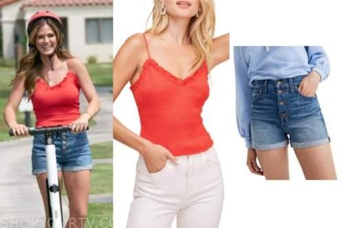 jojo fletcher, the bachelorette, red tank top, denim jean shorts