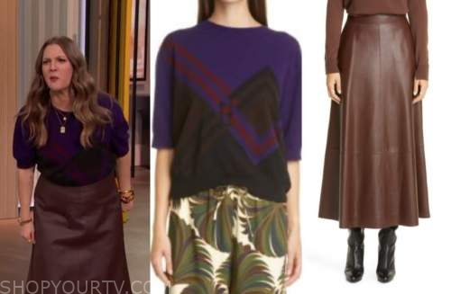drew barrymore, drew barrymore show, purple plaid sweater, brown leather skirt