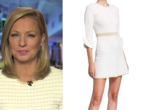 sandra smith, white textured dress, america's newsroom
