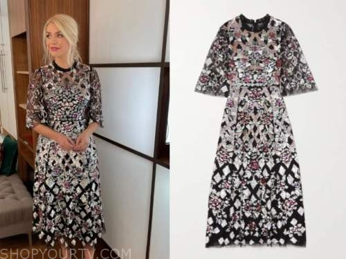 holly willoughby, this morning, metallic floral midi dress