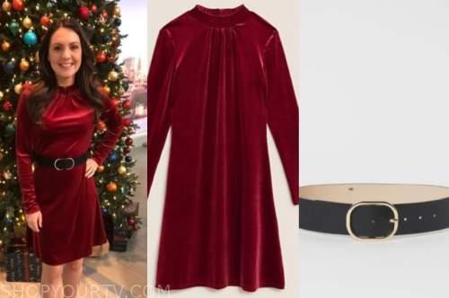 laura tobin, good morning britain, red velvet dress
