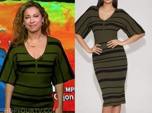 ginger zee, good morning america, green and black stripe knit dress