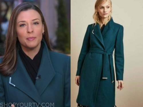 mary bruce, teal coat, good morning america