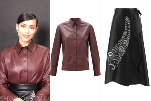 sofia carson, live with kelly and ryan, burgundy leather shirt, embellished skirt